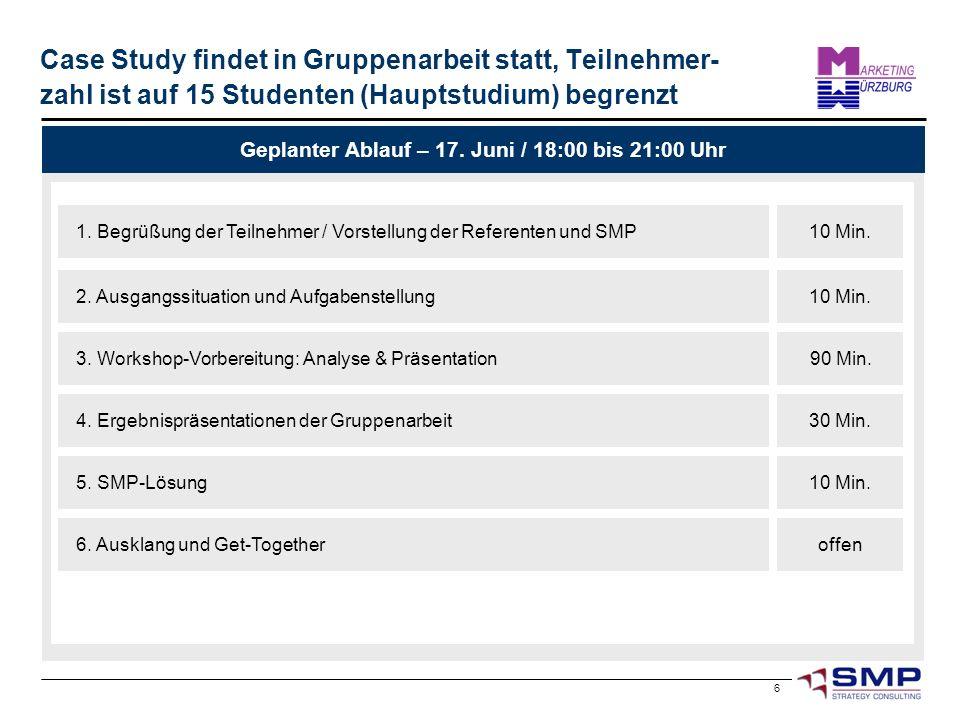 6 Case Study findet in Gruppenarbeit statt, Teilnehmer- zahl ist auf 15 Studenten (Hauptstudium) begrenzt Geplanter Ablauf – 17. Juni / 18:00 bis 21:0