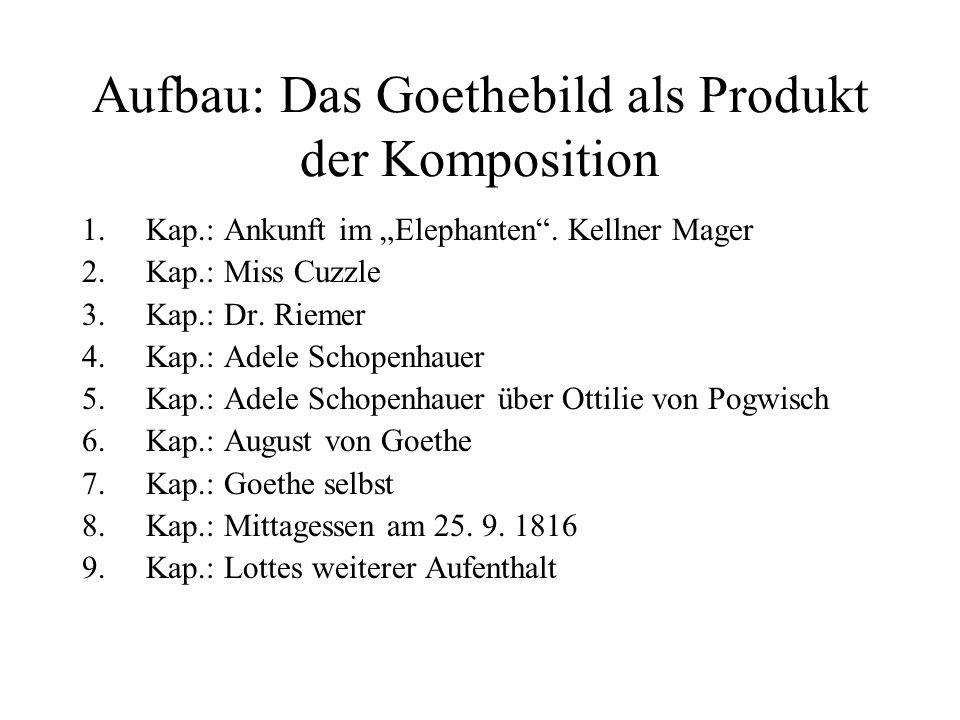 Aufbau: Das Goethebild als Produkt der Komposition 1.Kap.: Ankunft im Elephanten. Kellner Mager 2.Kap.: Miss Cuzzle 3.Kap.: Dr. Riemer 4.Kap.: Adele S