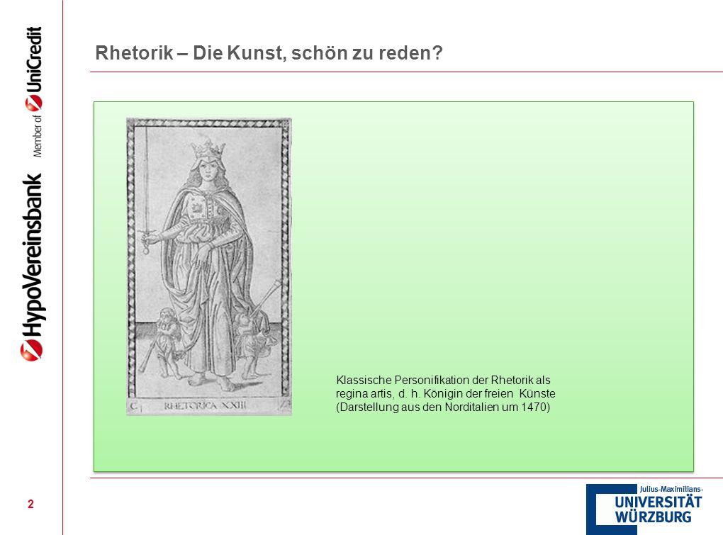 2 Klassische Personifikation der Rhetorik als regina artis, d. h. Königin der freien Künste (Darstellung aus den Norditalien um 1470)