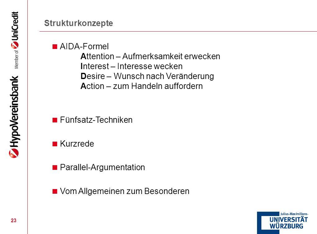23 Strukturkonzepte AIDA-Formel Attention – Aufmerksamkeit erwecken Interest – Interesse wecken Desire – Wunsch nach Veränderung Action – zum Handeln