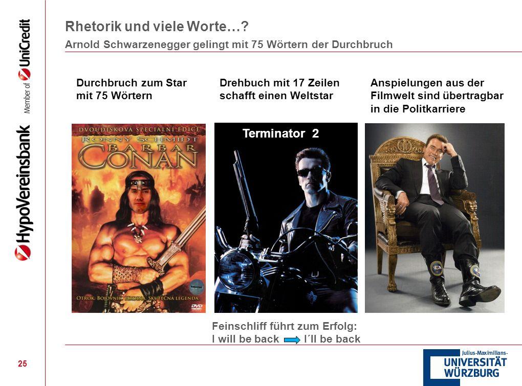 Rhetorik und viele Worte…? 25 Arnold Schwarzenegger gelingt mit 75 Wörtern der Durchbruch Durchbruch zum Star mit 75 Wörtern Drehbuch mit 17 Zeilen sc