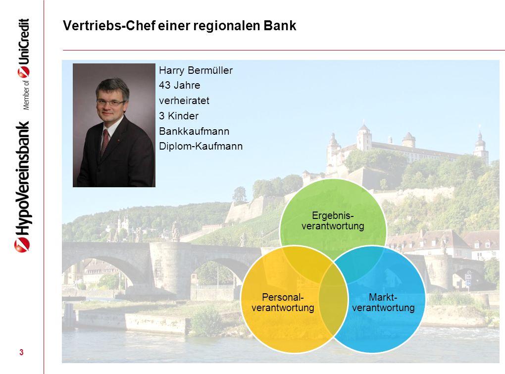 3 Vertriebs-Chef einer regionalen Bank Harry Bermüller 43 Jahre verheiratet 3 Kinder Bankkaufmann Diplom-Kaufmann Ergebnis- verantwortung Markt- veran