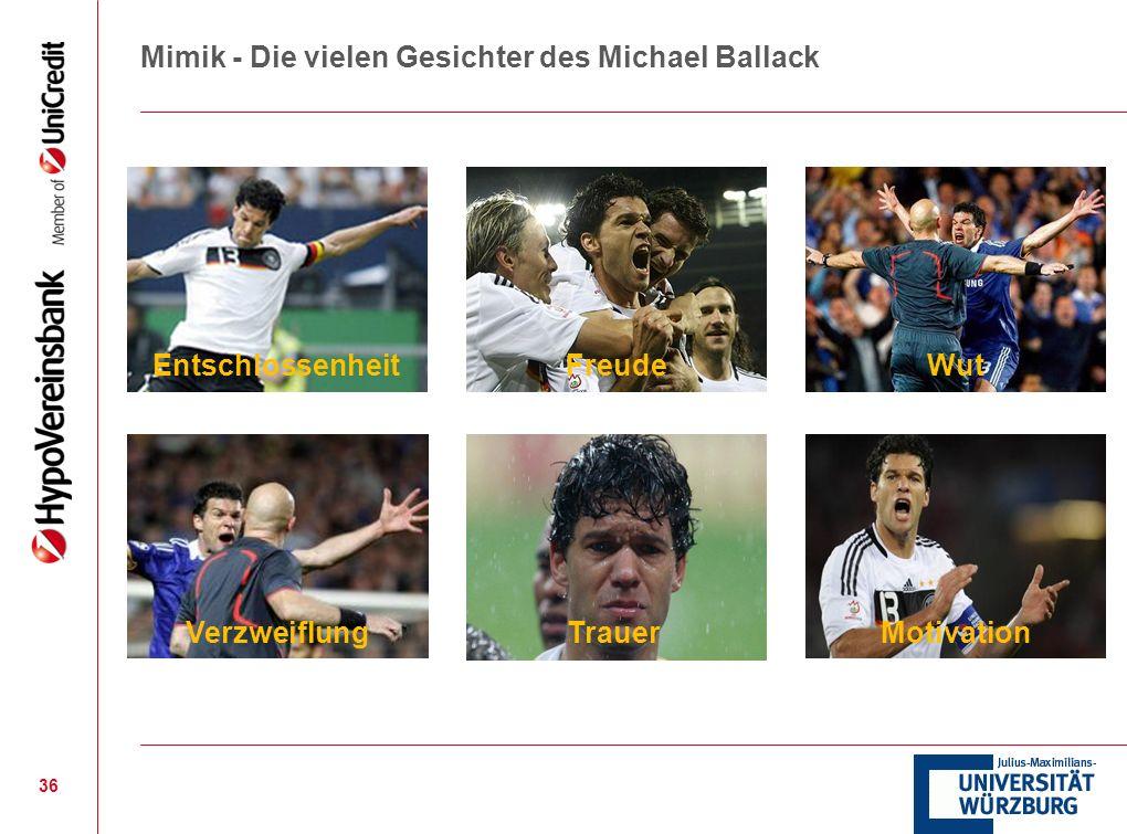 Mimik - Die vielen Gesichter des Michael Ballack 36 EntschlossenheitFreude Verzweiflung Wut TrauerMotivation