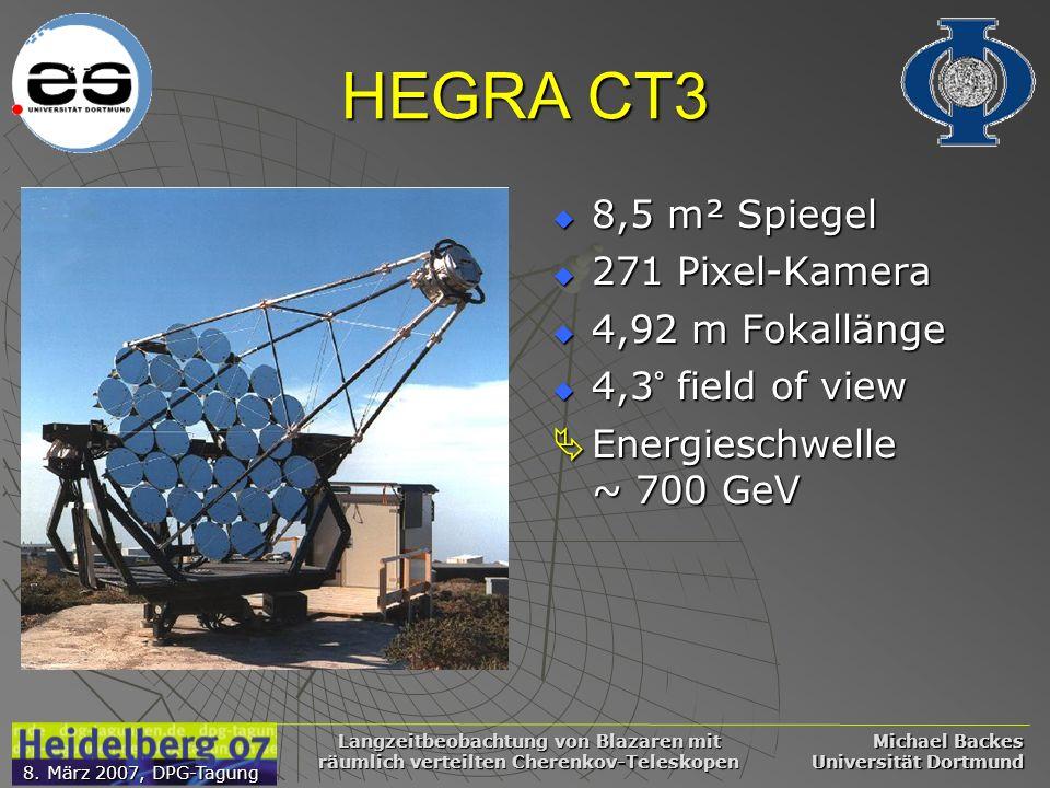 Michael Backes Universität Dortmund 8. März 2007, DPG-Tagung Langzeitbeobachtung von Blazaren mit räumlich verteilten Cherenkov-Teleskopen HEGRA CT3 8