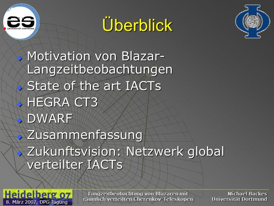 Michael Backes Universität Dortmund 8. März 2007, DPG-Tagung Langzeitbeobachtung von Blazaren mit räumlich verteilten Cherenkov-Teleskopen Überblick M
