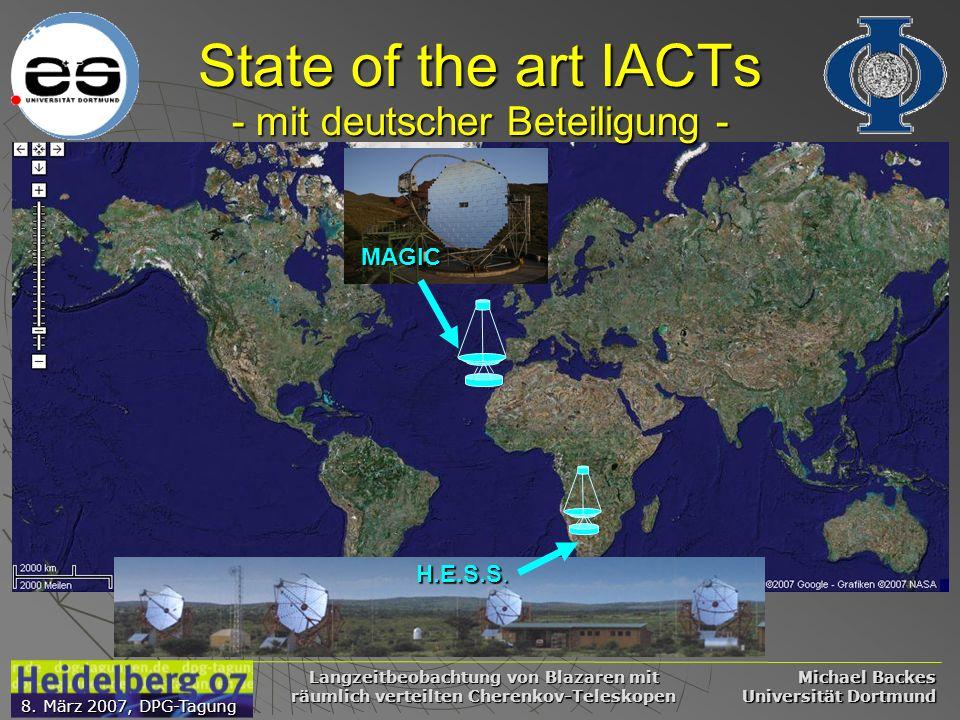 Michael Backes Universität Dortmund 8. März 2007, DPG-Tagung Langzeitbeobachtung von Blazaren mit räumlich verteilten Cherenkov-Teleskopen State of th