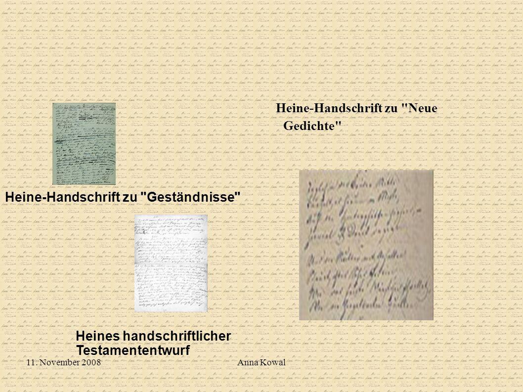 11. November 2008Anna Kowal Heine-Handschrift zu