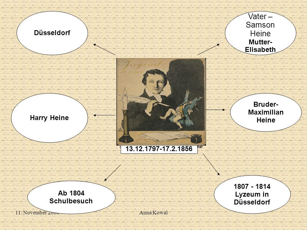 11. November 2008Anna Kowal Ab 1804 Schulbesuch 1807 - 1814 Lyzeum in Düsseldorf Düsseldorf Vater – Samson Heine Mutter- Elisabeth Harry Heine Bruder-