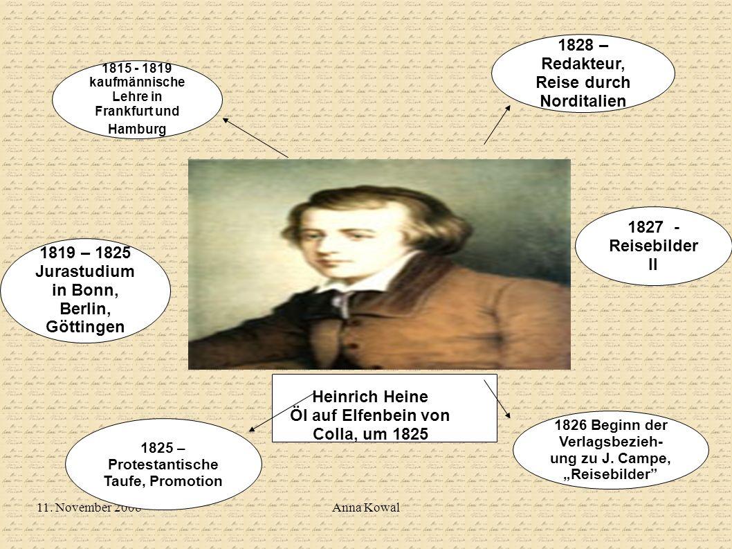 11. November 2008Anna Kowal Heinrich Heine Öl auf Elfenbein von Colla, um 1825 1825 – Protestantische Taufe, Promotion 1826 Beginn der Verlagsbezieh-