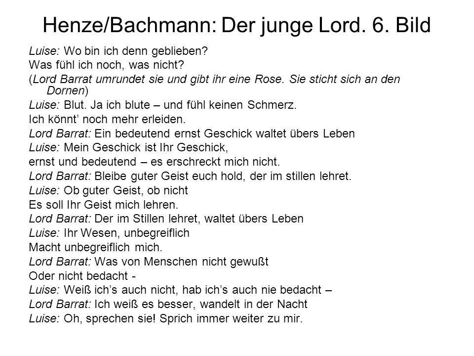 Henze/Bachmann: Der junge Lord. 6. Bild Luise: Wo bin ich denn geblieben? Was fühl ich noch, was nicht? (Lord Barrat umrundet sie und gibt ihr eine Ro