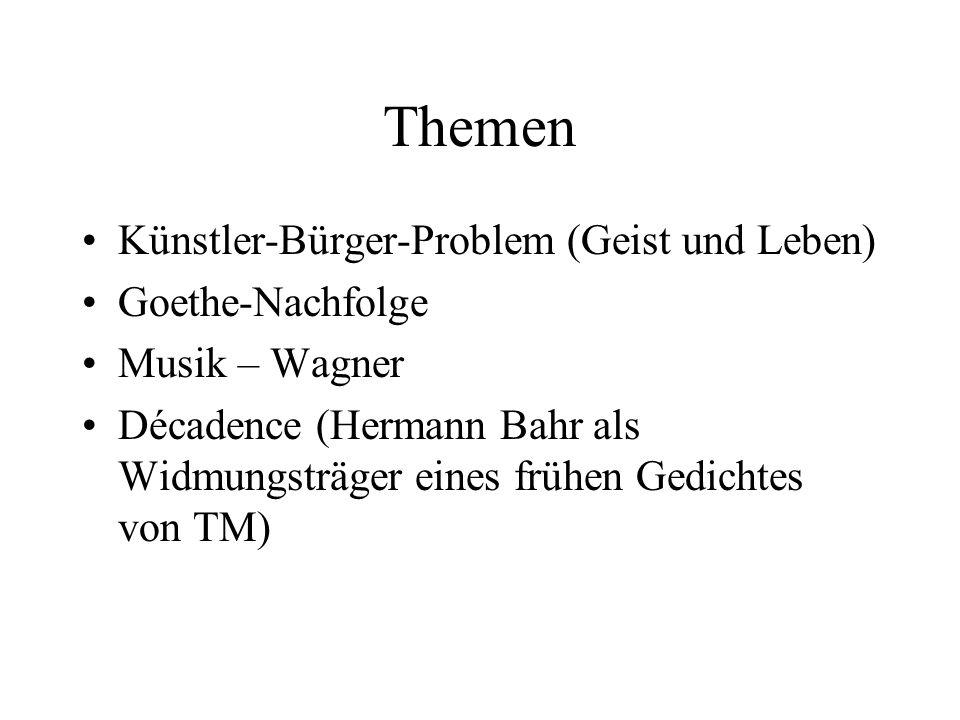 Themen Künstler-Bürger-Problem (Geist und Leben) Goethe-Nachfolge Musik – Wagner Décadence (Hermann Bahr als Widmungsträger eines frühen Gedichtes von