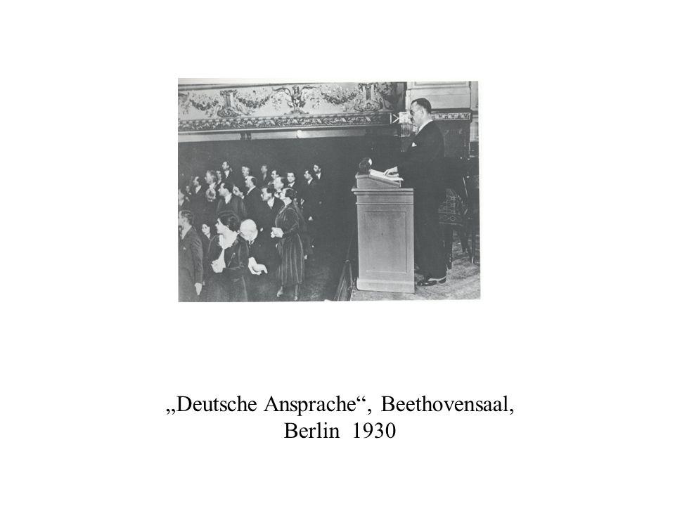 Deutsche Ansprache, Beethovensaal, Berlin 1930