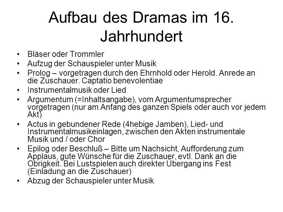 Aufbau des Dramas im 16. Jahrhundert Bläser oder Trommler Aufzug der Schauspieler unter Musik Prolog – vorgetragen durch den Ehrnhold oder Herold. Anr
