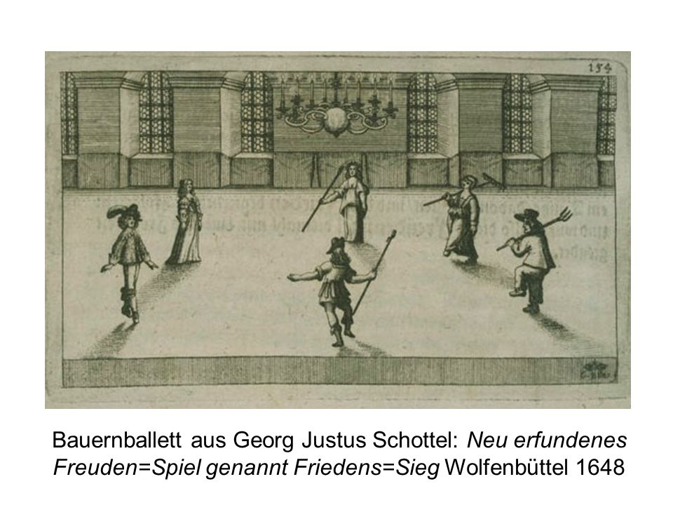 Bauernballett aus Georg Justus Schottel: Neu erfundenes Freuden=Spiel genannt Friedens=Sieg Wolfenbüttel 1648