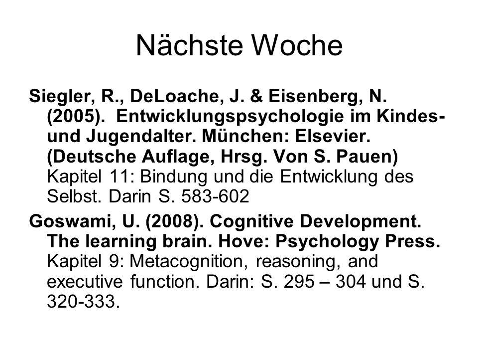 Nächste Woche Siegler, R., DeLoache, J. & Eisenberg, N. (2005). Entwicklungspsychologie im Kindes- und Jugendalter. München: Elsevier. (Deutsche Aufla