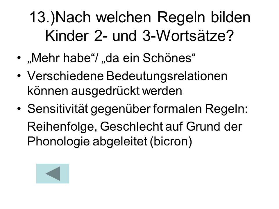 13.)Nach welchen Regeln bilden Kinder 2- und 3-Wortsätze? Mehr habe/ da ein Schönes Verschiedene Bedeutungsrelationen können ausgedrückt werden Sensit