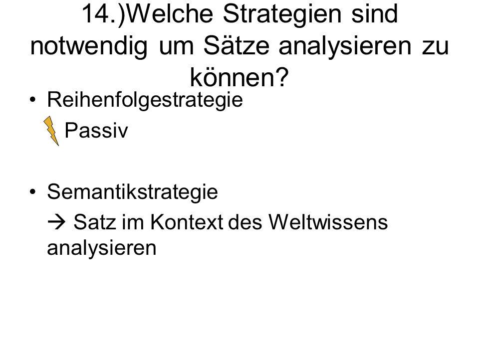 14.)Welche Strategien sind notwendig um Sätze analysieren zu können? Reihenfolgestrategie Passiv Semantikstrategie Satz im Kontext des Weltwissens ana