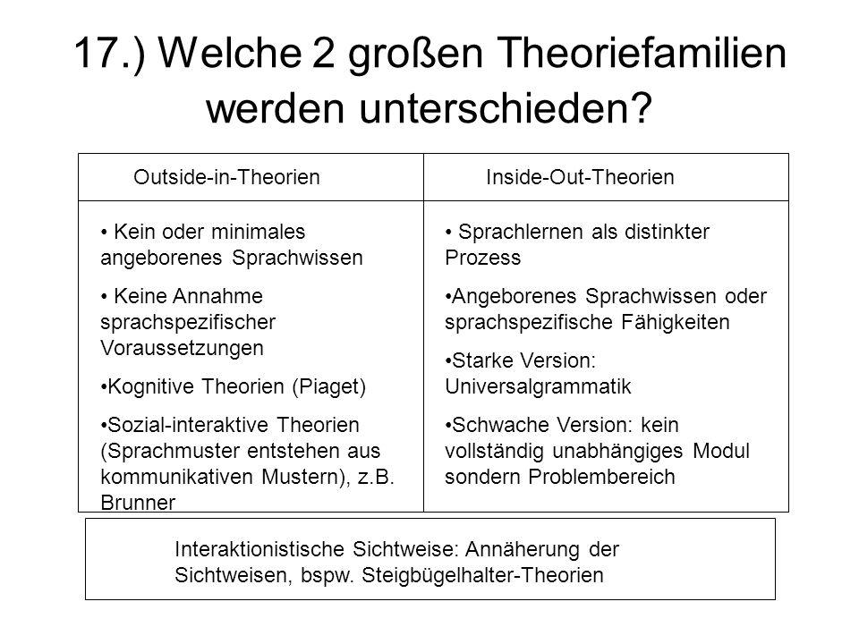 17.) Welche 2 großen Theoriefamilien werden unterschieden? Outside-in-Theorien Inside-Out-Theorien Kein oder minimales angeborenes Sprachwissen Keine