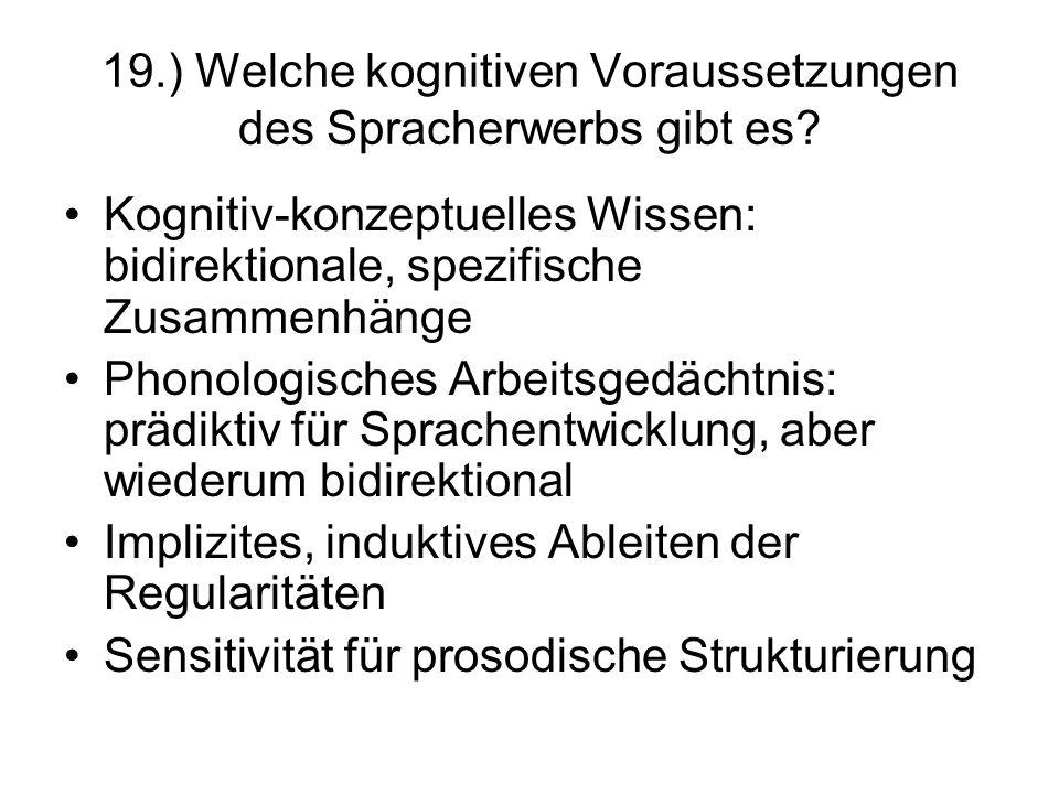 19.) Welche kognitiven Voraussetzungen des Spracherwerbs gibt es? Kognitiv-konzeptuelles Wissen: bidirektionale, spezifische Zusammenhänge Phonologisc