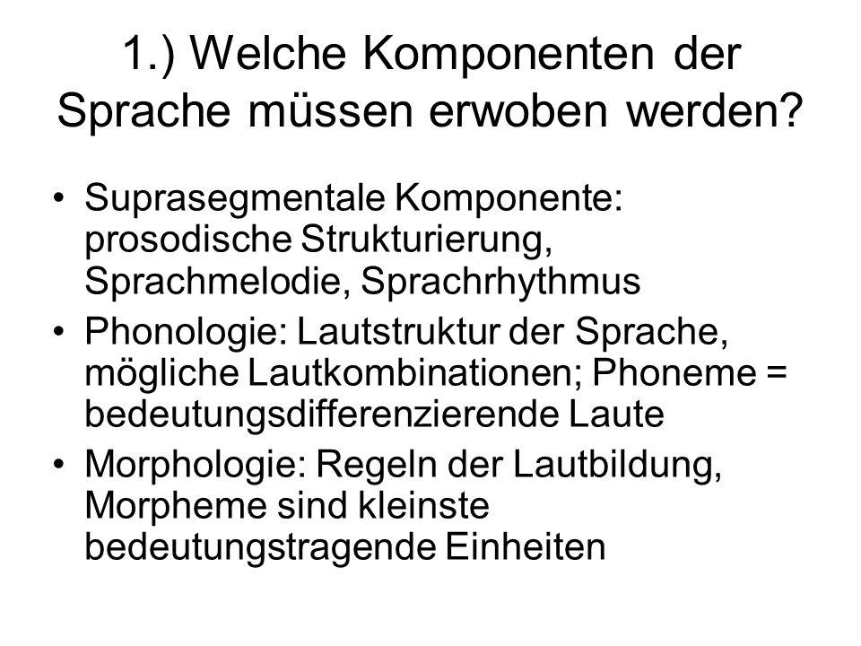 1.) Welche Komponenten der Sprache müssen erwoben werden? Suprasegmentale Komponente: prosodische Strukturierung, Sprachmelodie, Sprachrhythmus Phonol