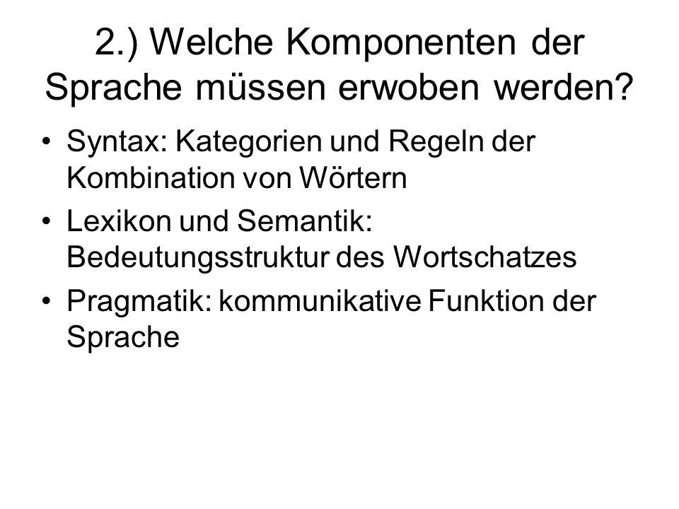 2.) Welche Komponenten der Sprache müssen erwoben werden? Syntax: Kategorien und Regeln der Kombination von Wörtern Lexikon und Semantik: Bedeutungsst