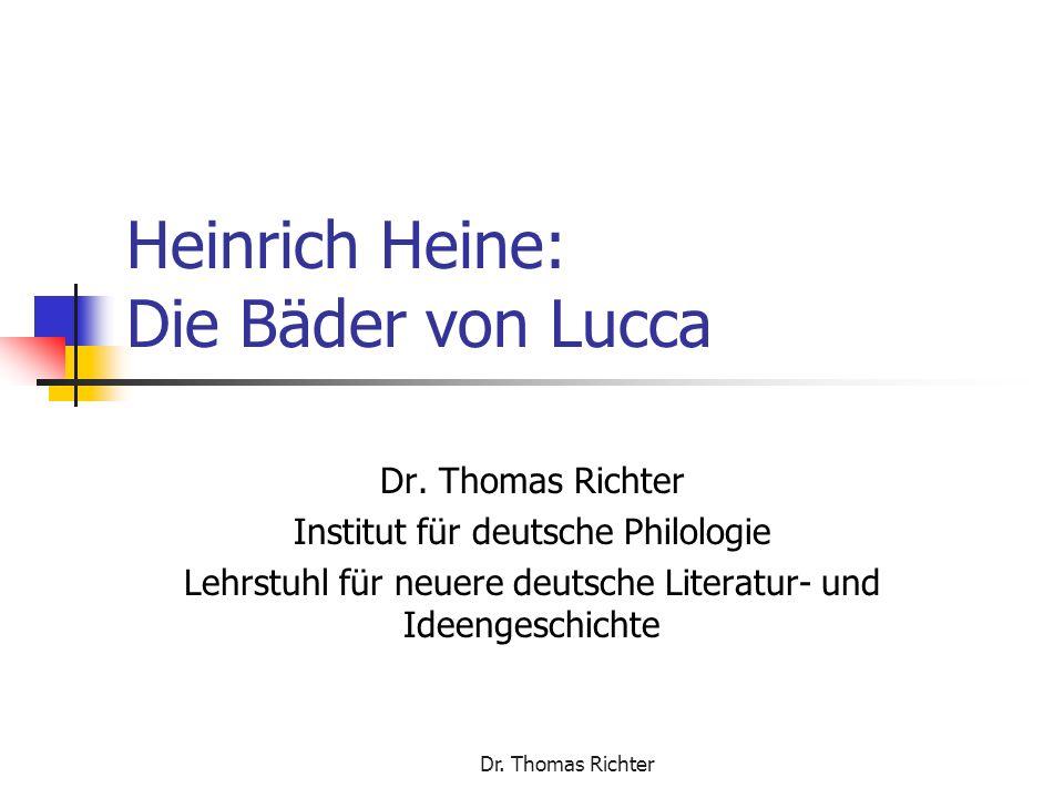Dr.Thomas Richter Hausarbeit Thema: Heines Reisebilder als Antireiseliteratur.