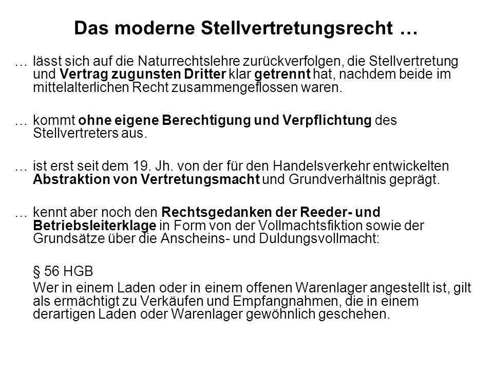 Das moderne Stellvertretungsrecht … … lässt sich auf die Naturrechtslehre zurückverfolgen, die Stellvertretung und Vertrag zugunsten Dritter klar getrennt hat, nachdem beide im mittelalterlichen Recht zusammengeflossen waren.