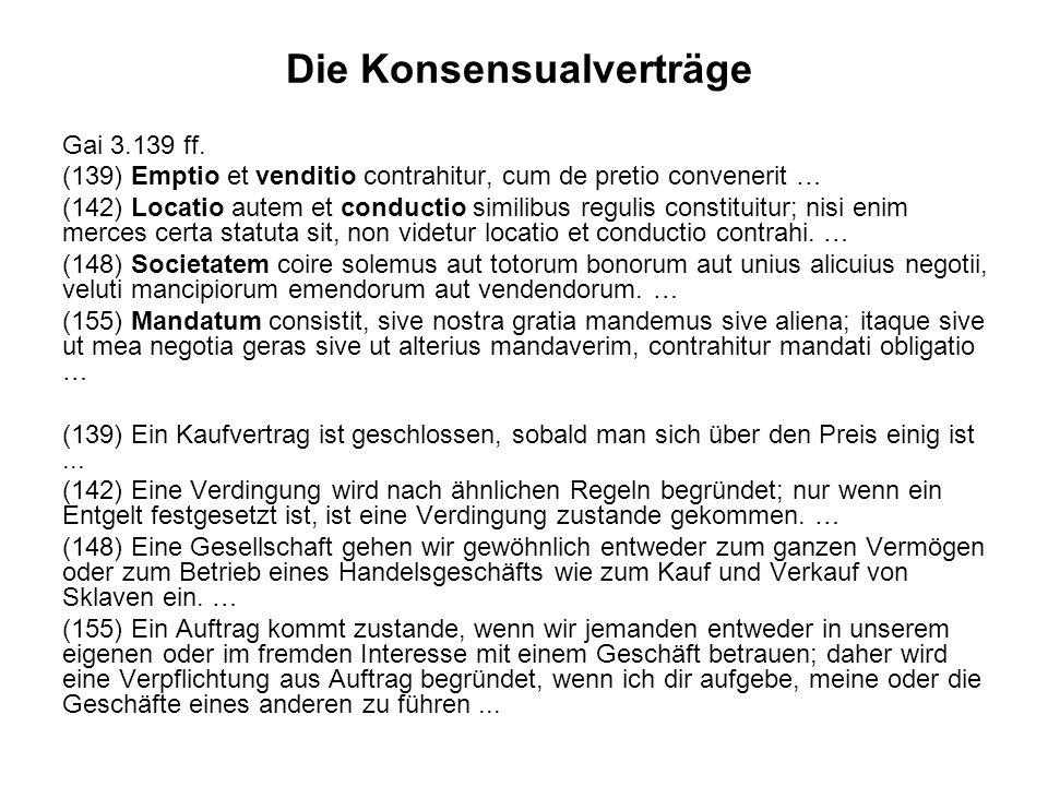 Die Konsensualverträge Gai 3.139 ff.