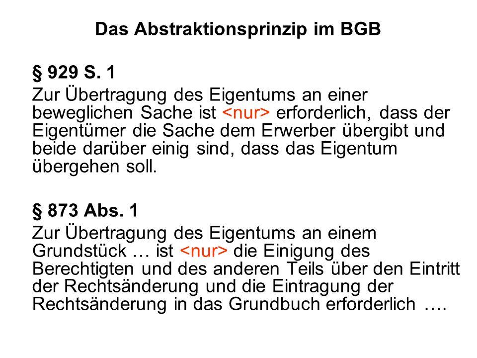 Das Abstraktionsprinzip im BGB § 929 S.
