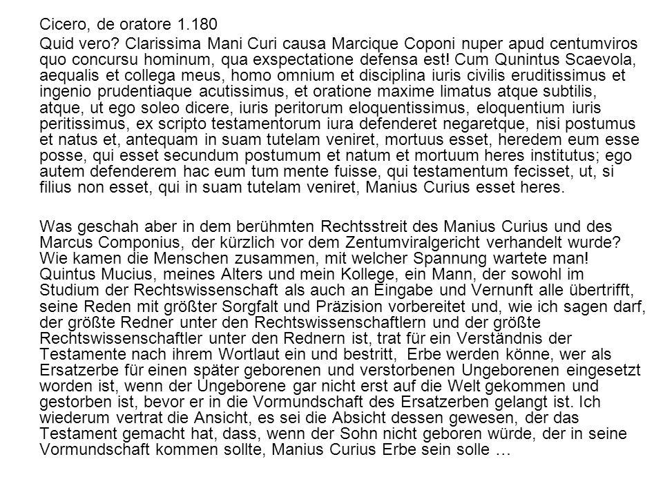 Cicero, de oratore 1.180 Quid vero? Clarissima Mani Curi causa Marcique Coponi nuper apud centumviros quo concursu hominum, qua exspectatione defensa