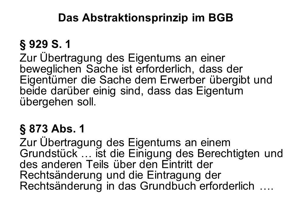 Das Abstraktionsprinzip im BGB § 929 S. 1 Zur Übertragung des Eigentums an einer beweglichen Sache ist erforderlich, dass der Eigentümer die Sache dem