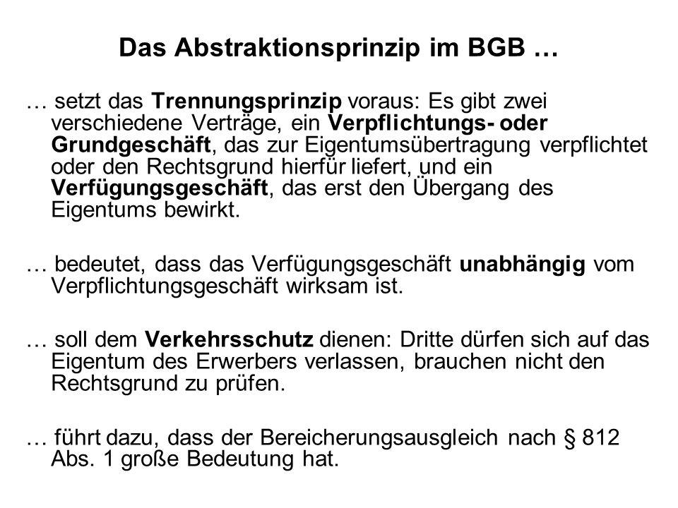 Das Abstraktionsprinzip im BGB … … setzt das Trennungsprinzip voraus: Es gibt zwei verschiedene Verträge, ein Verpflichtungs- oder Grundgeschäft, das