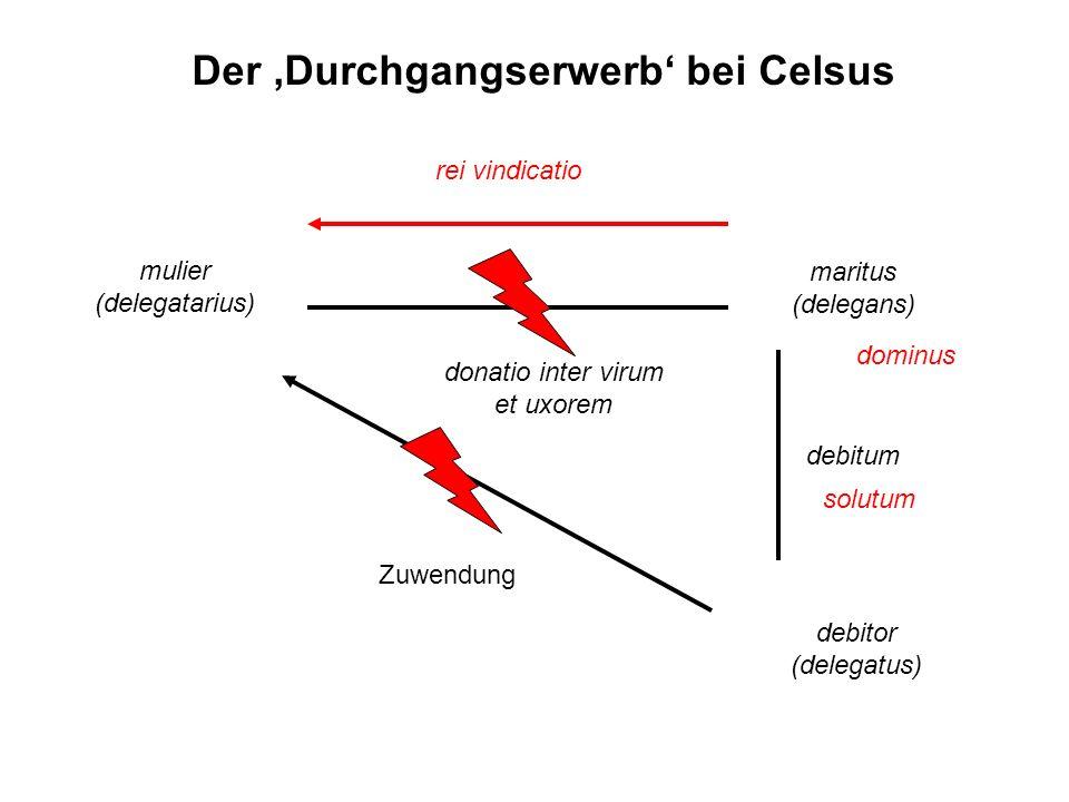 maritus (delegans) mulier (delegatarius) debitor (delegatus) Zuwendung rei vindicatio debitum donatio inter virum et uxorem solutum Der Durchgangserwe