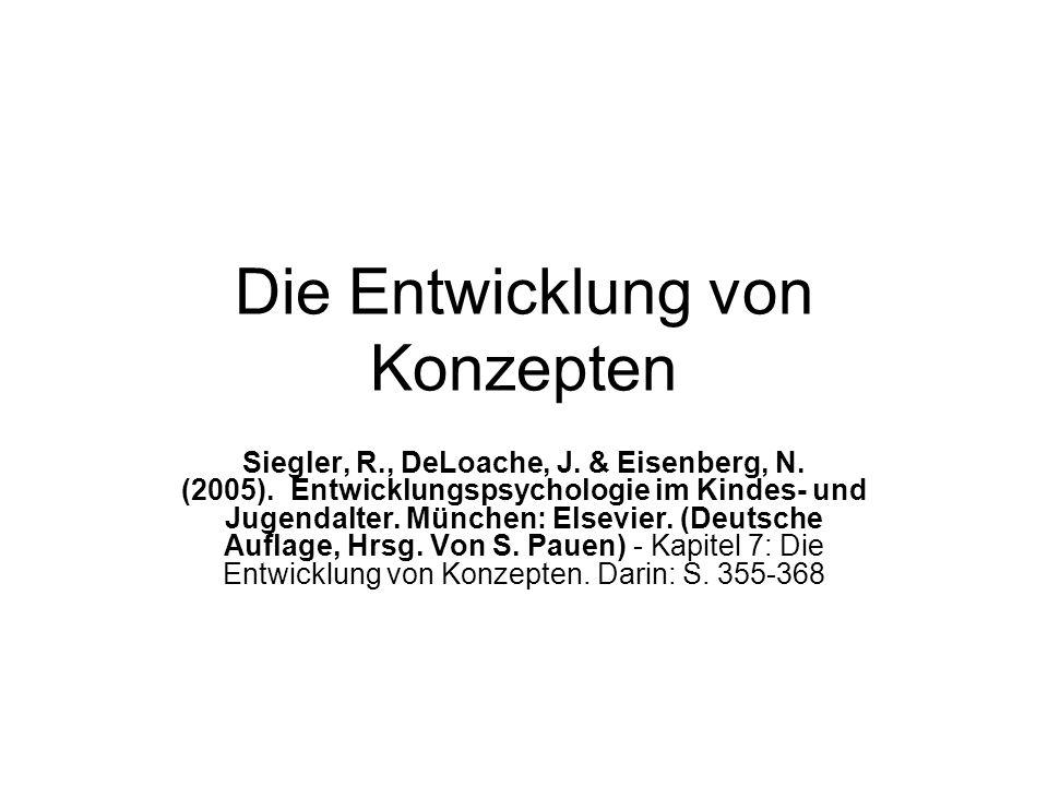 Die Entwicklung von Konzepten Siegler, R., DeLoache, J. & Eisenberg, N. (2005). Entwicklungspsychologie im Kindes- und Jugendalter. München: Elsevier.