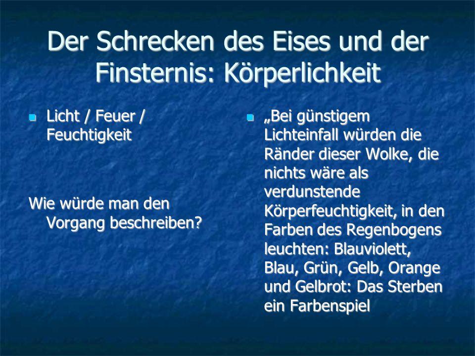 Der Schrecken des Eises und der Finsternis: Körperlichkeit Licht / Feuer / Feuchtigkeit Licht / Feuer / Feuchtigkeit Wie würde man den Vorgang beschreiben.