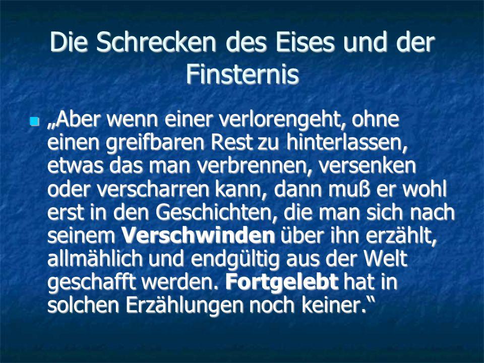 Der Schrecken des Eises und der Finsternis Welchen Wert misst Ransmayr der historischen bzw.