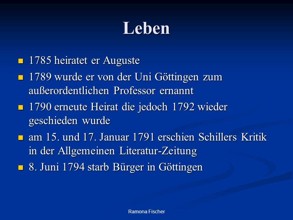 Ramona Fischer Leben 1785 heiratet er Auguste 1785 heiratet er Auguste 1789 wurde er von der Uni Göttingen zum außerordentlichen Professor ernannt 1789 wurde er von der Uni Göttingen zum außerordentlichen Professor ernannt 1790 erneute Heirat die jedoch 1792 wieder geschieden wurde 1790 erneute Heirat die jedoch 1792 wieder geschieden wurde am 15.