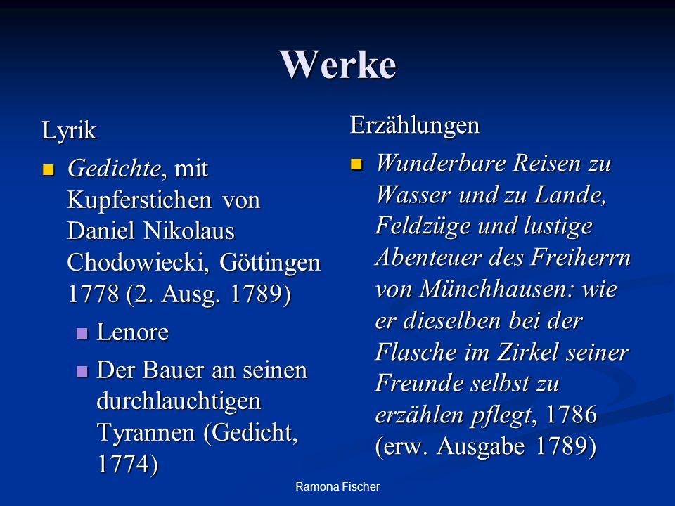 Ramona Fischer Werke Lyrik Gedichte, mit Kupferstichen von Daniel Nikolaus Chodowiecki, Göttingen 1778 (2. Ausg. 1789) Gedichte, mit Kupferstichen von