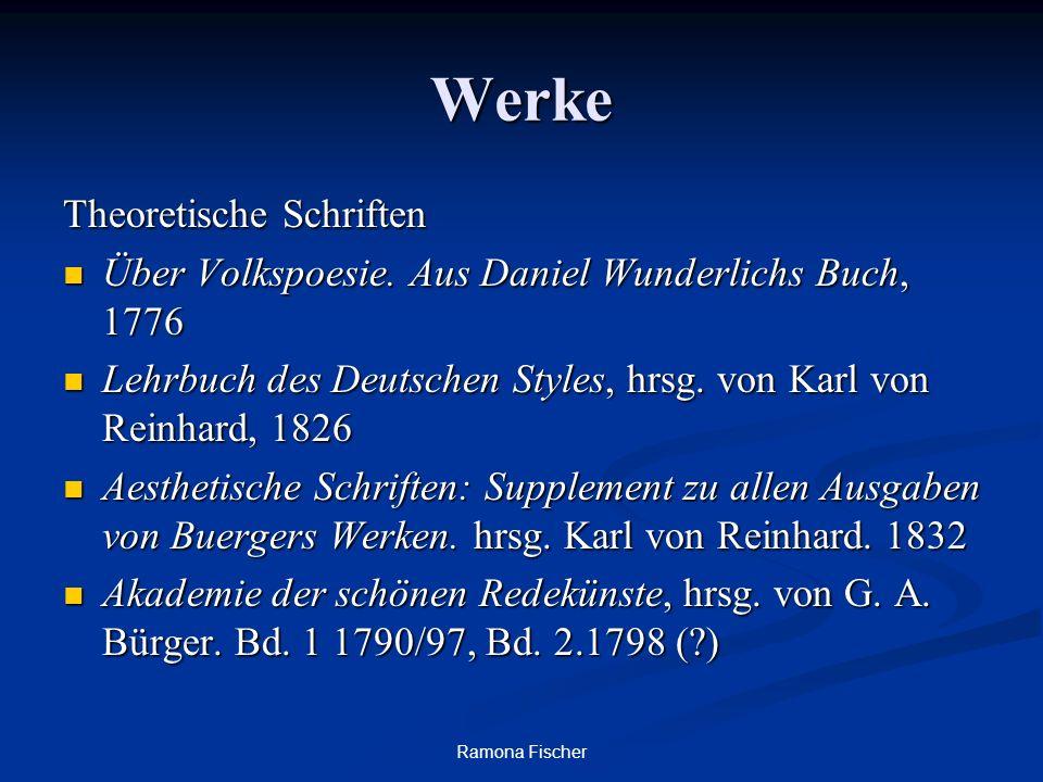 Ramona Fischer Werke Theoretische Schriften Über Volkspoesie. Aus Daniel Wunderlichs Buch, 1776 Über Volkspoesie. Aus Daniel Wunderlichs Buch, 1776 Le