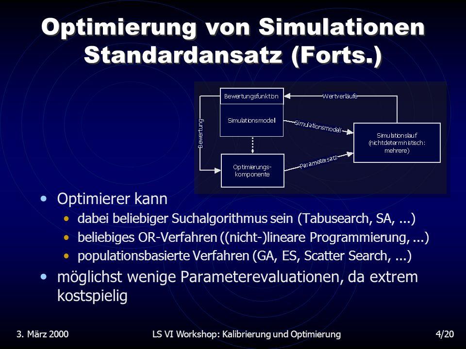3. März 2000LS VI Workshop: Kalibrierung und Optimierung15/20