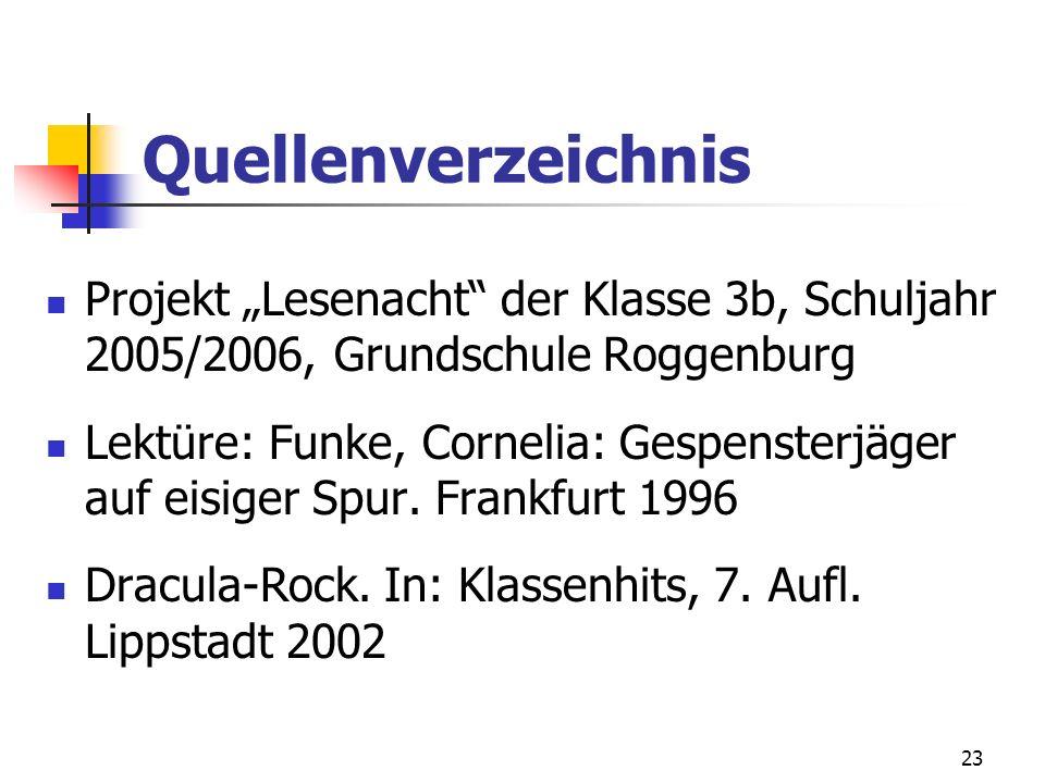 23 Quellenverzeichnis Projekt Lesenacht der Klasse 3b, Schuljahr 2005/2006, Grundschule Roggenburg Lektüre: Funke, Cornelia: Gespensterjäger auf eisig
