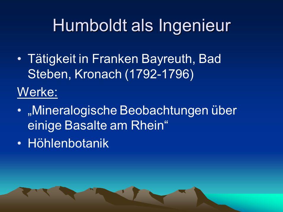 Humboldt als Ingenieur Tätigkeit in Franken Bayreuth, Bad Steben, Kronach (1792-1796) Werke: Mineralogische Beobachtungen über einige Basalte am Rhein