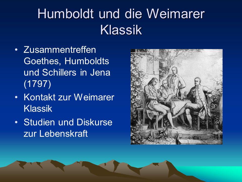 Humboldt und die Weimarer Klassik Zusammentreffen Goethes, Humboldts und Schillers in Jena (1797) Kontakt zur Weimarer Klassik Studien und Diskurse zu