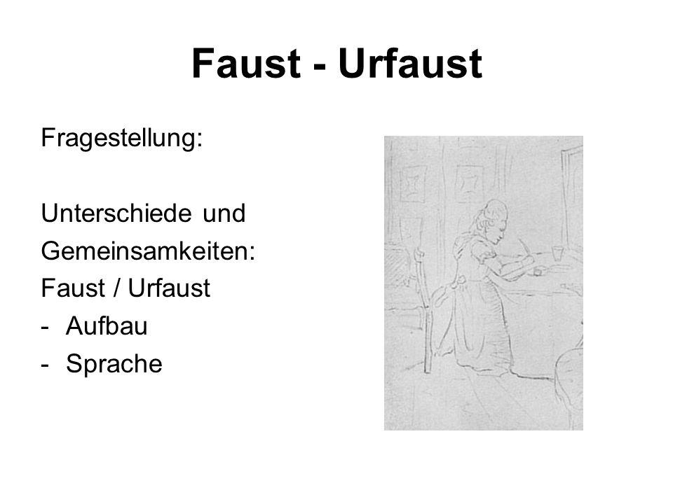 Faust - Urfaust Fragestellung: Unterschiede und Gemeinsamkeiten: Faust / Urfaust -Aufbau -Sprache