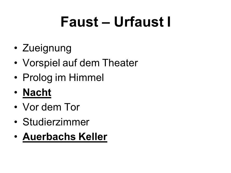 Faust – Urfaust I Zueignung Vorspiel auf dem Theater Prolog im Himmel Nacht Vor dem Tor Studierzimmer Auerbachs Keller