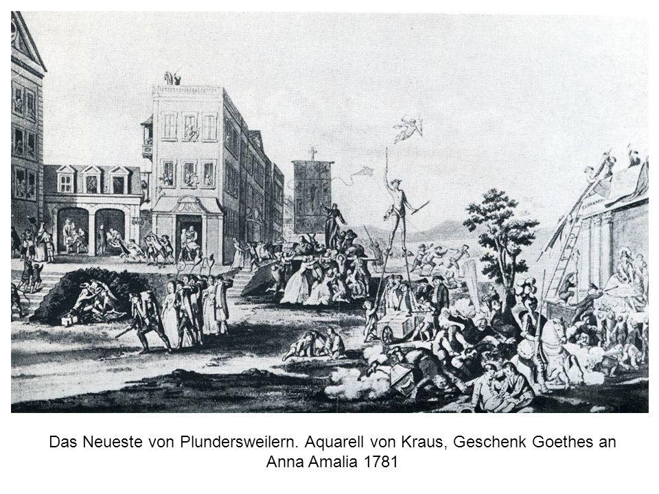 Das Neueste von Plundersweilern. Aquarell von Kraus, Geschenk Goethes an Anna Amalia 1781