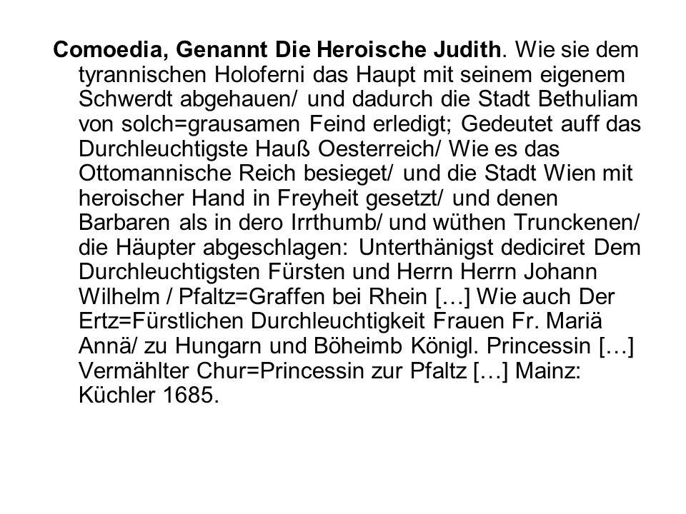 Wirkungen von Hebbels Judith.Tragödie (1840) Johann Nestroy: Judith und Holofernes.