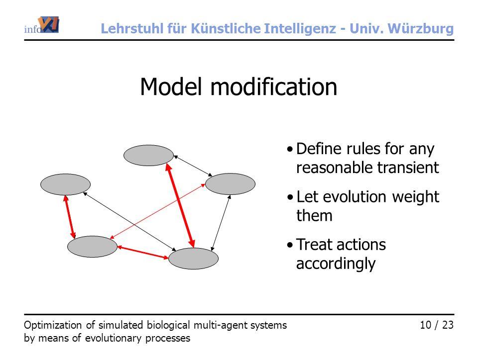 Lehrstuhl für Künstliche Intelligenz - Univ. Würzburg 10 / 23Optimization of simulated biological multi-agent systems by means of evolutionary process