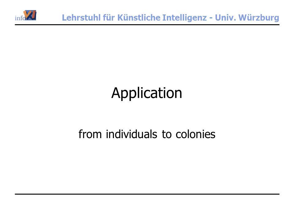 Lehrstuhl für Künstliche Intelligenz - Univ. Würzburg Application from individuals to colonies