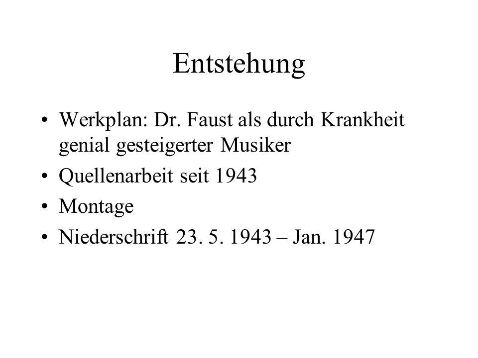 Entstehung Werkplan: Dr. Faust als durch Krankheit genial gesteigerter Musiker Quellenarbeit seit 1943 Montage Niederschrift 23. 5. 1943 – Jan. 1947